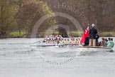 The Women's Boat Race and Henley Boat Races 2014: The Newton Women's Boat Race - Oxford is winning the race. In front the press launch.. River Thames, Henley-on-Thames, Buckinghamshire, United Kingdom, on 30 March 2014 at 15:15, image #319