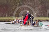 The Women's Boat Race and Henley Boat Races 2014: The Newton Women's Boat Race - a jubilant Oxford crew has won the race.. River Thames, Henley-on-Thames, Buckinghamshire, United Kingdom, on 30 March 2014 at 15:15, image #323