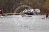 The Women's Boat Race and Henley Boat Races 2014: The Newton Women's Boat Race - the victotious Oxford boat can just be seem behind the press launch on the left.. River Thames, Henley-on-Thames, Buckinghamshire, United Kingdom, on 30 March 2014 at 15:16, image #324