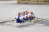 The Women's Boat Race and Henley Boat Races 2014: After winning the Newton Women's Boat Race, the Oxford crew is rowing back to Henley.. River Thames, Henley-on-Thames, Buckinghamshire, United Kingdom, on 30 March 2014 at 15:21, image #328