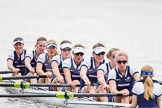 The Women's Boat Race and Henley Boat Races 2014: After winning the Newton Women's Boat Race, the Oxford crew is rowing back to Henley. Bow Elizabeth Fenje, 2 Alice Carrington-Windo, 3 Maxie Scheske, 4 Lauren Kedar, 5 Nadine Graedel Iberg, 6 Laura Savarese, 7 Anastasia Chitty, stroke Amber de Vere, cox Erin Wysocki-Jones.. River Thames, Henley-on-Thames, Buckinghamshire, United Kingdom, on 30 March 2014 at 15:22, image #340