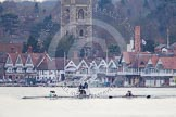 The Women's Boat Race and Henley Boat Races 2014: The Lightweight Men's Boat Race - OULRC vs CULRC, Oxford is on the right (Bucks) side, behind the boats is the umpire's launch.. River Thames, Henley-on-Thames, Buckinghamshire, United Kingdom, on 30 March 2014 at 15:38, image #356