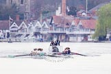 The Women's Boat Race and Henley Boat Races 2014: The Lightweight Men's Boat Race - OULRC vs CULRC, Oxford is on the right (Bucks) side, behind the boats is the umpire's launch.. River Thames, Henley-on-Thames, Buckinghamshire, United Kingdom, on 30 March 2014 at 15:39, image #357