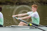 The Women's Boat Race and Henley Boat Races 2014: The Lightweight Men's Boat Race - OULRC vs CULRC. In the leading Cambridge boat at bow Greg Street.. River Thames, Henley-on-Thames, Buckinghamshire, United Kingdom, on 30 March 2014 at 15:40, image #379