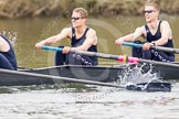 The Women's Boat Race and Henley Boat Races 2014: The Lightweight Men's Boat Race - OULRC vs CULRC. In the Oxford boat 3 seat Marcus Henglein, 2 David Zimmer.. River Thames, Henley-on-Thames, Buckinghamshire, United Kingdom, on 30 March 2014 at 15:40, image #388