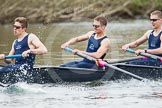 The Women's Boat Race and Henley Boat Races 2014: The Lightweight Men's Boat Race - OULRC vs CULRC. In the Oxford boat 4 seat Robert Leonard, 3 Marcus Henglein, 2 David Zimmer.. River Thames, Henley-on-Thames, Buckinghamshire, United Kingdom, on 30 March 2014 at 15:40, image #389