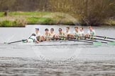 The Women's Boat Race and Henley Boat Races 2014: The Lightweight Men's Boat Race - OULRC vs CULRC. The leading Cambridge boat is approaching the finish line.. River Thames, Henley-on-Thames, Buckinghamshire, United Kingdom, on 30 March 2014 at 15:40, image #394
