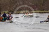 The Women's Boat Race and Henley Boat Races 2014: The Lightweight Men's Boat Race - OULRC vs CULRC. The leading Cambridge boat is approaching the finish line, followed by the press launch.. River Thames, Henley-on-Thames, Buckinghamshire, United Kingdom, on 30 March 2014 at 15:41, image #398