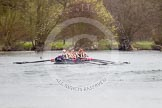 The Women's Boat Race and Henley Boat Races 2014: The Lightweight Men's Boat Race - OULRC vs CULRC. The Oxford boat has fallen behind.. River Thames, Henley-on-Thames, Buckinghamshire, United Kingdom, on 30 March 2014 at 15:41, image #401