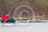 The Women's Boat Race and Henley Boat Races 2014: The Lightweight Men's Boat Race - OULRC vs CULRC. Cambridge has won the race. Behind them the press launch.. River Thames, Henley-on-Thames, Buckinghamshire, United Kingdom, on 30 March 2014 at 15:41, image #404