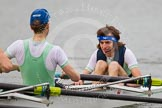 The Women's Boat Race and Henley Boat Races 2014: After the Lightweight Men's Boat Race - the Cambridge Eight is rowing back to Henley. Here stroke Andrzej Hunt and cox Callum Mantell.. River Thames, Henley-on-Thames, Buckinghamshire, United Kingdom, on 30 March 2014 at 15:46, image #407