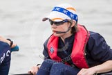 The Women's Boat Race and Henley Boat Races 2014: After the Lightweight Men's Boat Race - the Oxford Eight is rowing back to Henley. Here cox Hannah Keenan.. River Thames, Henley-on-Thames, Buckinghamshire, United Kingdom, on 30 March 2014 at 15:48, image #417