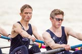 The Women's Boat Race and Henley Boat Races 2014: After the Lightweight Men's Boat Race - the Oxford Eight is rowing back to Henley. Here 3 seat Marcus Henglein, 4 Robert Leonard.. River Thames, Henley-on-Thames, Buckinghamshire, United Kingdom, on 30 March 2014 at 15:49, image #422