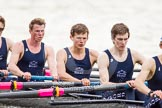 The Women's Boat Race and Henley Boat Races 2014: After the Lightweight Men's Boat Race - the Oxford Eight is rowing back to Henley. Here 5 seat James Ellison, 6 Rowan Arthur, 7 Andrew Saul.. River Thames, Henley-on-Thames, Buckinghamshire, United Kingdom, on 30 March 2014 at 15:49, image #425