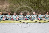 The Women's Boat Race and Henley Boat Races 2014: The Commemorative Row Past of the 1984 inaugural crews of the Oxford and Cambridge Women's Lightweight races, to celebrate 30 years at Henley: In the CUWBC boat Stroke Louise Makin, 7 Sarah Wilshaw-Sparkes (Wilshaw), 6 Kathryn Pocock (Langsford), 5 Stephanie Bew, 4 Jane Maher (Fullam), 3 Lynelle Bishop (Walker-Smith), 2 Mary Harrison (Phillips), bow Deanna Fernie (Turner). River Thames, Henley-on-Thames, Buckinghamshire, United Kingdom, on 30 March 2014 at 15:54, image #440