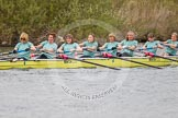 The Women's Boat Race and Henley Boat Races 2014: The Commemorative Row Past of the 1984 inaugural crews of the Oxford and Cambridge Women's Lightweight races, to celebrate 30 years at Henley: In the CUWBC boat Stroke Louise Makin, 7 Sarah Wilshaw-Sparkes (Wilshaw), 6 Kathryn Pocock (Langsford), 5 Stephanie Bew, 4 Jane Maher (Fullam), 3 Lynelle Bishop (Walker-Smith), 2 Mary Harrison (Phillips), bow Deanna Fernie (Turner). River Thames, Henley-on-Thames, Buckinghamshire, United Kingdom, on 30 March 2014 at 15:54, image #441