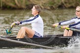The Women's Boat Race and Henley Boat Races 2014: The Commemorative Row Past of the 1984 inaugural crews of the Oxford and Cambridge Women's Lightweight races, to celebrate 30 years at Henley: In the OUWBC boat 4 seat Emma Kelly (Platt), 3 Laura Evison (Oldfield).. River Thames, Henley-on-Thames, Buckinghamshire, United Kingdom, on 30 March 2014 at 15:55, image #449