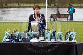The Women's Boat Race and Henley Boat Races 2014: Nanda Pirie, Chair of the Henley Boat Races Executive Committee, speaking before the start of the price giving.. River Thames, Henley-on-Thames, Buckinghamshire, United Kingdom, on 30 March 2014 at 16:37, image #459