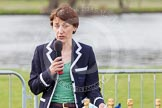 The Women's Boat Race and Henley Boat Races 2014: Nanda Pirie, Chair of the Henley Boat Races Executive Committee, speaking before the start of the price giving.. River Thames, Henley-on-Thames, Buckinghamshire, United Kingdom, on 30 March 2014 at 16:40, image #460