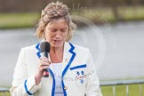 The Women's Boat Race and Henley Boat Races 2014: Judith Behan, head of the Henley Boat Races Organising Committee, speaking before the start of the price giving.. River Thames, Henley-on-Thames, Buckinghamshire, United Kingdom, on 30 March 2014 at 16:42, image #463