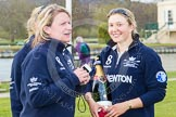 The Women's Boat Race and Henley Boat Races 2014: Christine Wilson, OUWBC Chief Coach, with OUWBC president Maxie Scheske and a bottle of Bollinger Champagne.. River Thames, Henley-on-Thames, Buckinghamshire, United Kingdom, on 30 March 2014 at 17:15, image #539