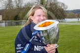 The Women's Boat Race and Henley Boat Races 2014: OUWBC Chief Coach Christine Wilson with the Newton Women's Boat Race Cup.. River Thames, Henley-on-Thames, Buckinghamshire, United Kingdom, on 30 March 2014 at 17:15, image #540