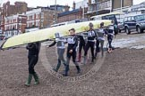 Molesey BC carrying their boat from Putney Embankmen down to the river