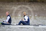 In the OUWBC boat before the race - in the 2 seat the OUWBC president, Anastasia Chitty, and at bow Maxie Scheske.