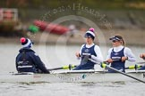 The OUWBC boat - cox Jennifer Ehr, Caryn Davies, and Nadine Gradel Iberg.