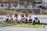 The Molesey BC boat before the start of the first race - Emma Boyns,Orla Hates, Eve Newton, Natalie Irvine, Aimee Jonkers, Helen Roberts, Sam Fowler, Gabby Rodriguez, and cox  Henry Fieldman.