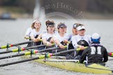 The race is on - the Molesey BC boat with Emma Boyns,Orla Hates, Eve Newton, Natalie Irvine, Aimee Jonkers, Helen Roberts, Sam Fowler, Gabby Rodriguez, and cox Henry Fieldman
