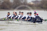 Shortly after the start of the first race - the OUWBC boat with Maxie Scheske, Anastasia Chitty, Shelley Pearson, Emily Reynolds, Amber De Vere, Lauren Kedar, Nadine Gradel Iberg, Caryn Davies, and cox Jennifer Ehr