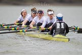 Shortly after the start of the first race - the Molesey BC boat with Emma Boyns,Orla Hates, Eve Newton, Natalie Irvine, Aimee Jonkers, Helen Roberts, Sam Fowler, Gabby Rodriguez, and cox Henry Fieldman