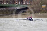 OUWBC approaching Hammersmith Bridge, the finish of the first of the three races over the tideway course