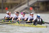 Molesey BC approaching Hammersmith Bridge - Emma Boyns,Orla Hates, Eve Newton, Natalie Irvine, Aimee Jonkers, Helen Roberts, Sam Fowler, Gabby Rodriguez, and cox Henry Fieldman