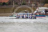 OUWBC after winning the first race to Hammersmith Bridge - Maxie Scheske, Anastasia Chitty, Shelley Pearson, Emily Reynolds, Amber De Vere, Lauren Kedar, Nadine Gradel Iberg, Caryn Davies, and cox Jennifer Ehr