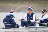 OUWBC cox Jennifer Ehr, stroke Caryn Davies, and 7 seat Nadine Gradel Iberg during a break between race two and three