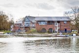 The Boat Race season 2015: OUWBC training Wallingford: Oxford University Fleming Boathouse in Wallingford/Oxfordshire, seen from the western side of the Thames.  Wallingford,  United Kingdom, on 04 March 2015 at 14:17, image #6