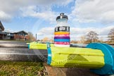 The Boat Race season 2015: OUWBC training Wallingford: Close-up of oars and an energy drink bottle in front of Oxford University Fleming Boathouse in Wallingford/Oxfordshire.  Wallingford,  United Kingdom, on 04 March 2015 at 15:07, image #7