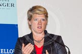 BBC Sport presenter Claire Balding talking to the assembled photographers and journalists