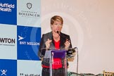 BBC Sport presenter Claire Balding talking introducing the competitors for the 2015 Newton Women's Boat Race
