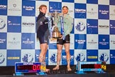 OUBC president Constantine Louloudis and CUBC president Alexander Leichter holding the Boat Race trophy