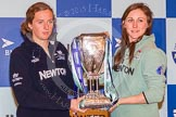 OUWBC president Anastasia Chitty and CUWBC president Caroline Reid holding the Women's Boat Race trophy