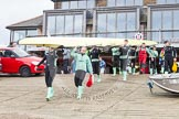 "The Boat Race season 2016 - Women's Boat Race Trial Eights (CUWBC, Cambridge): CUWBC boat ""Twickenham"" is carried from Thames Rowing Club down to the river. River Thames between Putney Bridge and Mortlake, London SW15,  United Kingdom, on 10 December 2015 at 10:15, image #5"