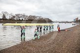 "The Boat Race season 2016 - Women's Boat Race Trial Eights (CUWBC, Cambridge): Race preparations - CUWBC boat ""Twickenham"" and crew. River Thames between Putney Bridge and Mortlake, London SW15,  United Kingdom, on 10 December 2015 at 10:15, image #6"