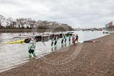 "The Boat Race season 2016 - Women's Boat Race Trial Eights (CUWBC, Cambridge): Race preparations - CUWBC boat ""Twickenham"" and crew. River Thames between Putney Bridge and Mortlake, London SW15,  United Kingdom, on 10 December 2015 at 10:15, image #7"