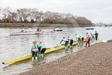 "The Boat Race season 2016 - Women's Boat Race Trial Eights (CUWBC, Cambridge): Race preparations - CUWBC boat ""Twickenham"" and crew. River Thames between Putney Bridge and Mortlake, London SW15,  United Kingdom, on 10 December 2015 at 10:15, image #8"