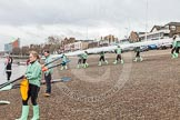 "The Boat Race season 2016 - Women's Boat Race Trial Eights (CUWBC, Cambridge): CUWBC boat ""Tideway"" is carried from Thames Rowing Club down to the river. River Thames between Putney Bridge and Mortlake, London SW15,  United Kingdom, on 10 December 2015 at 10:16, image #11"