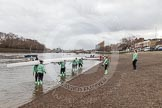 "The Boat Race season 2016 - Women's Boat Race Trial Eights (CUWBC, Cambridge): Race preparations - CUWBC boat ""Tideway"" and crew. River Thames between Putney Bridge and Mortlake, London SW15,  United Kingdom, on 10 December 2015 at 10:17, image #12"
