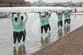 "The Boat Race season 2016 - Women's Boat Race Trial Eights (CUWBC, Cambridge): Race preparations - CUWBC boat ""Tideway"" and crew. River Thames between Putney Bridge and Mortlake, London SW15,  United Kingdom, on 10 December 2015 at 10:17, image #13"